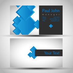 Colorful and elegant business card design with front and back side, vector