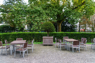Garden with tables and chairs