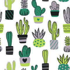Cute hand drawn seamless pattern with cactus. Cartoon style vector illustration in moder color theme. Collection of cactuses and succulent in flower pots.