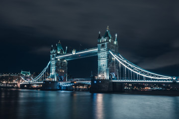 Night view of Tower Bridge and river Thames, London