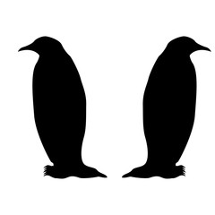 Penguin icon Black color fill It is flat style