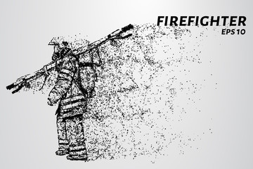 A firefighter carries a stretcher. The fireman consists of particles.