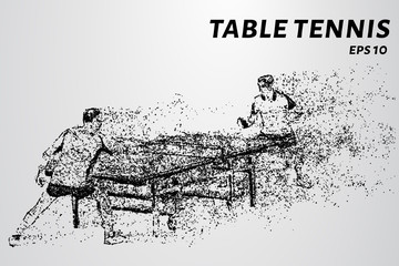 Table tennis played by two. Ping pong of the particles