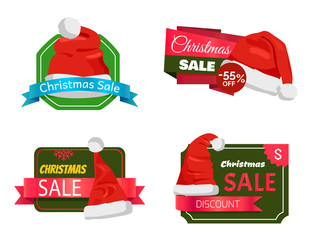 Christmas Holiday Sale Badges Vector Illustration