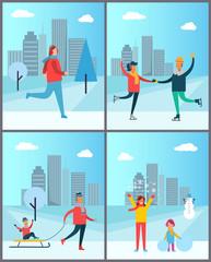 Woman Jogging, Happy Couple Dancing on SkatesSet