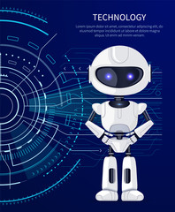 Technology Robot and Interface Vector Illustration