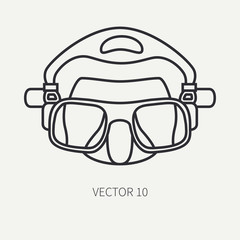 Line flat plain vector diver underwater equipment icon diver mask. Retro style. Ocean deep, sea beach. Snorkeling. Summer adventure vacation. Scuba. Illustration, element for your design and wallpaper