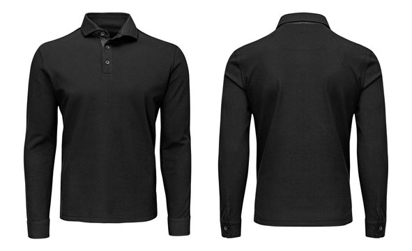 Blank template mens black polo shirt long sleeve, front and back view, isolated white background. Design sweatshirt mockup for print.