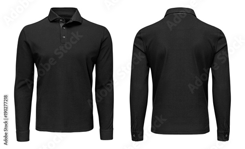 419f45ad88f72d Blank template mens black polo shirt long sleeve, front and back view,  isolated white background with clipping path. Design sweatshirt mockup for  print.