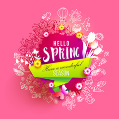 Hello Spring ink splash background with hand drawn doodles, flowers. For banners, posters, flyers, greeting cards, spring sales. Creative sketch with paper art cut out elements. Vector illustration