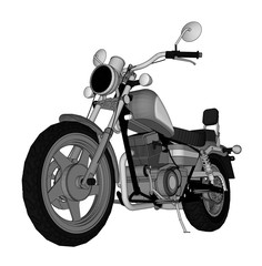 A small chopper is a classic. Vector black and white illustration with contour lines.