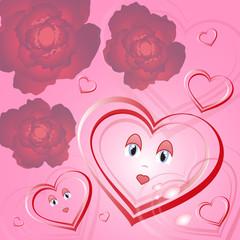 heart congratulations on Valentine's day, vector illustration