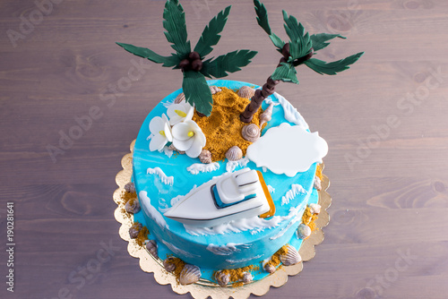 Beautiful Birthday Cake Decorated In An Island With A Palm Tree Blue Sea And Boat