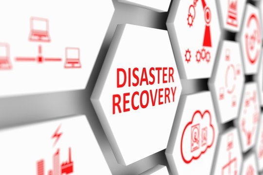 DISASTER RECOVERY concept cell blurred background 3d illustration