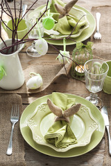Easter table setting. Holiday Decorations.