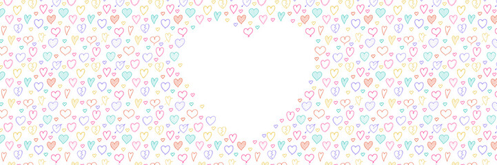 Concept of a banner with heart sketches and copyspace. Valentine's Day, Mother's Day or Women's Day. Vector.