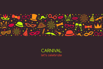 Carnival Party - banner with funny icons in retro style. Vector.