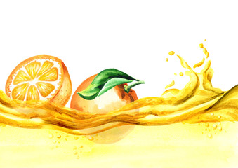 Fresh oranges on a wave of juice, watercolor hand drawn illustration