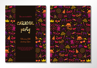 Welcome to Carnival Party - concept of two sided card in retro style. Vector.