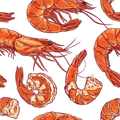 seamless different shrimps