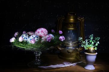 easter eggs and kerosene lamp