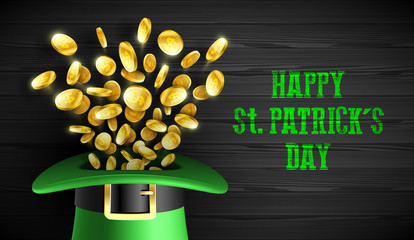 Happy Saint Patrick's Day greeting card design, Feast of Saint Patrick celebration, 17 March greeting card with leprechaun hat and gold coins on wooden background