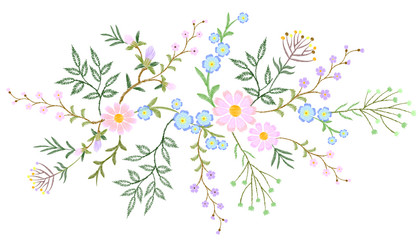 Embroidery white lace floral pattern small branches wild herb with little blue violet field flower. Ornate traditional folk fashion patch design neckline black background vector illustration