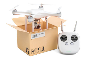 Drone quadrocopter with remote control inside cardboard box, delivery concept. 3D rendering