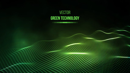Green technology background. Green energy vector illustration eps10. Team communication concept green background. Vector presentation tech background.