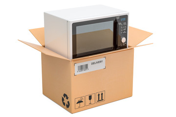 Microwave oven inside cardboard box, delivery concept. 3D rendering