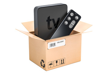 Modern Digital Media Player TV inside parcel, delivery concept. 3D rendering