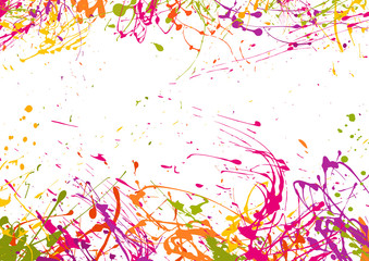 Art  background with drops and splashes,  bright watercolor stains