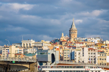 Panoramic view of Galata tower in Istanbul, Turkey