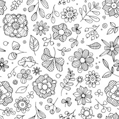 Seamless floral print. Fantasy flowers, leaves, plants drawn by hand. Black and white print for textiles.