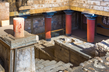 Wall Mural - Old walls of Knossos near Heraklion. The ruins of the Minoan palaces is the largest archaeological site of all the palaces in Mediterranean island of Crete, UNESCO tentative list, Greece