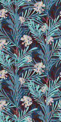 Blue Oriental Botanical Seamless Vector Pattern