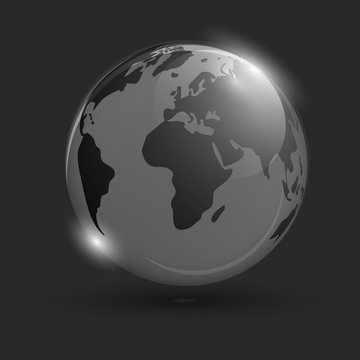 Glowing globe on black background. Isolated object. Space background. Scope. Creeping globe with the world map