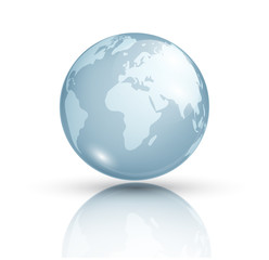 Blue planet isolated on white background. Planet Earth. Cosmic body. The terrestrial sphere. Astronomy. Globe. Glass globe with world map. Vector background