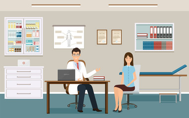 Woman patient at a doctor's consultation in clinic office. Male doctor in uniform and female patient in consulting room