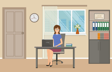 Business people concept. Woman office employee sitting on working place at the table with laptop.