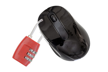 Image of a mouse mith a lock in front on white background with space for text
