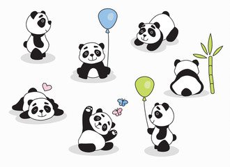 Panda cartoon character in various expression for invitations, parties and surprises