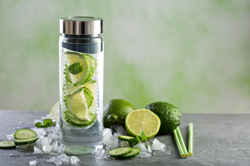 Infused water with lime and cucumber