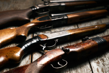Autocollant pour porte Chasse ollection of hunting rifles