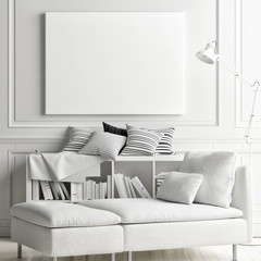 White soft interior with mock up poster on wall, 3d render, 3d illustration