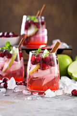 Cold winter cocktail with cranberry and apple
