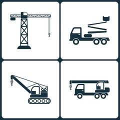 Vector Illustration Set of Truck and Transport Icons. Elements of Building crane, Truck crane and Crane icon
