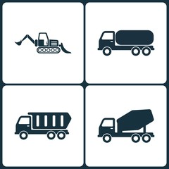 Vector Illustration Set of Truck and Transport Icons. Elements of Loader, Chemical Truck Transport  , Construction truck and Concrete mixer icon