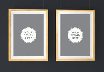 2 Hanging Wooden Frames Mockup 1