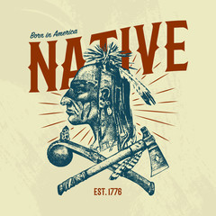 Native Indian traditions T-shirt. National American dreamcatcher. Knife and Ax, tools and instruments. engraved hand drawn in old boho sketch. man with feathers. ethnic symbol for print, label, emblem